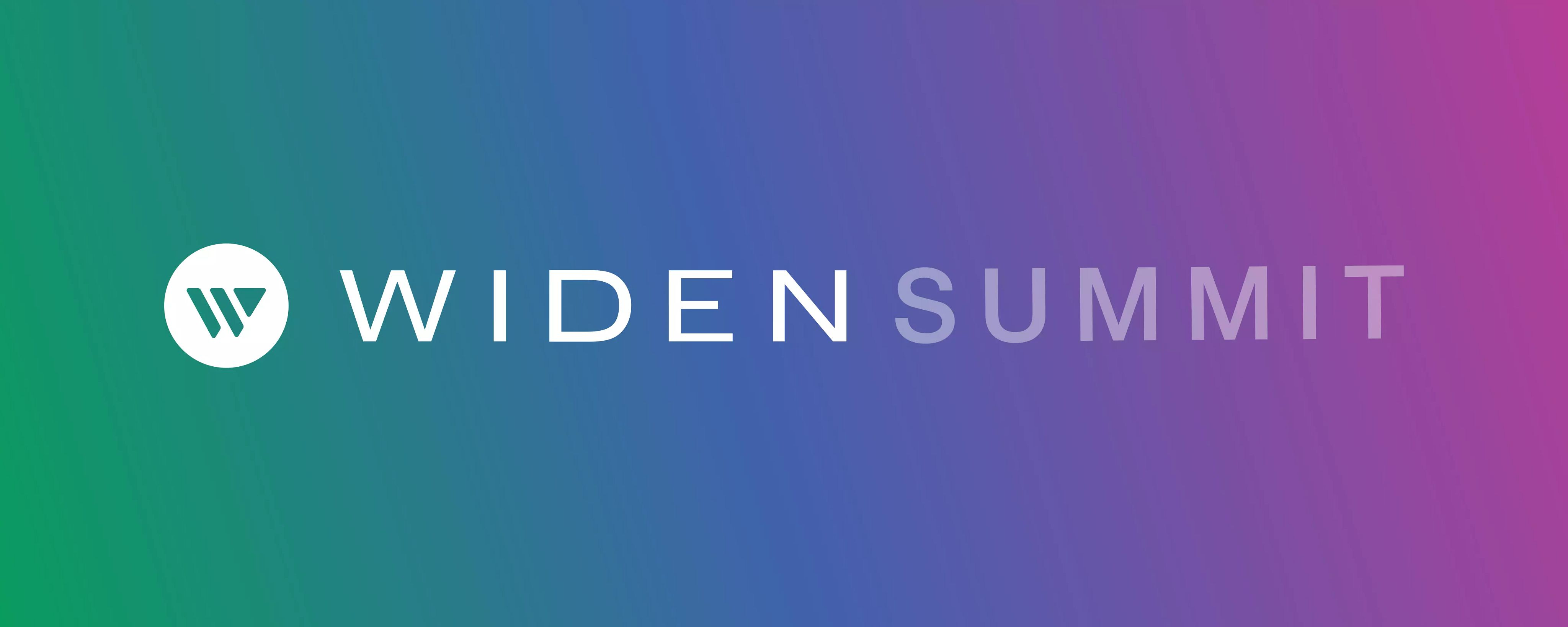 Widen Summit logo on a gradient background with green on the left fading to blue then purple then pink on the right.